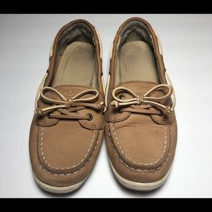Boys Brown Leather Sperrys Size 3.5